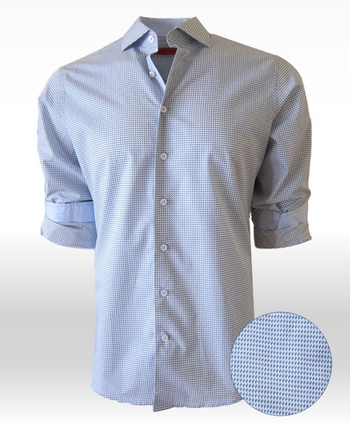 Flatter yourself with the classy light Blue small check.    So stylish and up-scale you just can't miss.  This 100% Pima Cotton, our very finest fabric, is so comfortable and cool you will absolutely love it.   The inside cuffs are a light blue fabric that looks great when you roll the sleeves.  If you are already familiar with Georg Roth shirts you will know what a great fit they are.  It goes with so much there's practically nothing it doesn't pair with.  Designed with pride for the quality we give you!