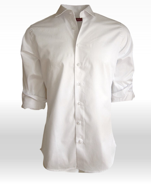 Every guy needs a white shirt in his closet...and this is it!! Super soft and luxe Pima Cotton mini tone on tone pattern. Clean and bright with the inner collar stand and inner cuffs in a coordinating white tone on tone fabric.  100% SUPER SOFT PIMA COTTON
