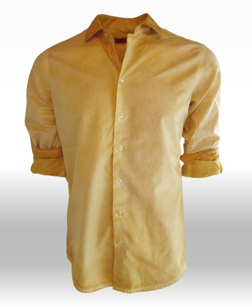 This seasons favorite! New & fresh is our Garment dyed on a super soft rich fabrication. Shades of yellow with the collar & cuffs a darker shade stand out making this truly unique. Dressed up or sporty worn open with a tee under it makes this truly versatile for anywhere, any occasion.  100% cotton
