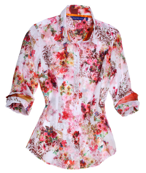 We like to call it a masterpiece! Truly a blouse like no other. Soft and light cotton voile silk in a stunning shade of pink with multi color floral design. The beauty is ... slightly sheer!  A fun coordinating abstract in coral pink & green are on the inner collar stand and double layer cuff detail.   Slightly fitted  Machine wash okay on delicate, lay flat to dry - Dry clean okay