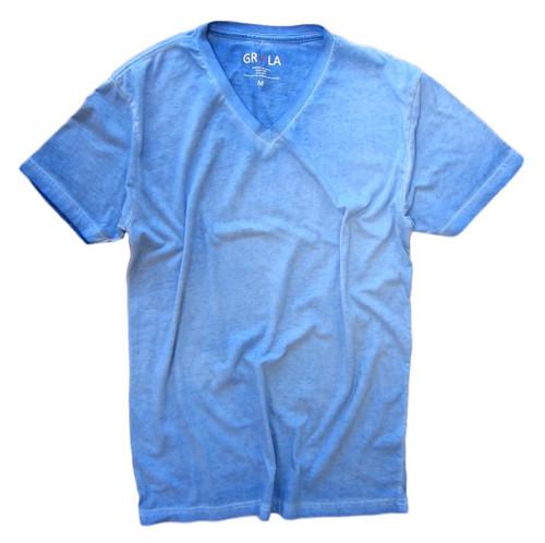 Men's Short Sleeves - V-Neck - T-Shirt Color Blue Lagoon / Garment Dyed 100% Cotton
