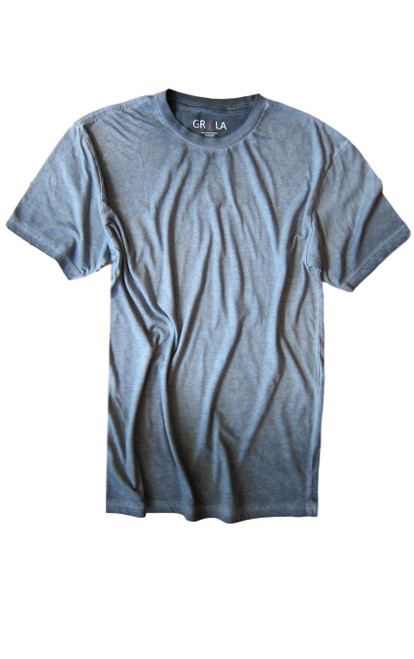 Men's Short Sleeves Crew T-Shirt Color Capri Blue / Garment Dyed 60% Cotton / 40% Polyester Made in America