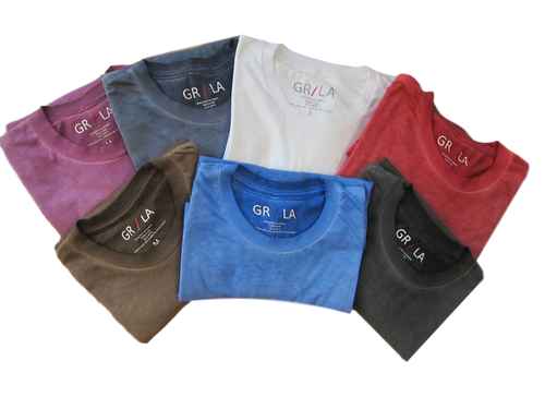 "Easy comfort anytime, anyplace! Our short sleeve"" Perfect Crew"" is great worn alone,  under a shirt, or jacket for dress. Vibrant colors of garment dyed wash make this Tee truly unique.  This package includes 7 colors (Coffee, Purple, Capri Blue, Brick, Basalt Grey, Black and Plum  )  The feel is soft and easy while the fit is just slightly tapered. For the Georg Roth Tee collector, this is a great value @ 325.00  60 CO 40 PO PRESHRUNK Machine wash, lay flat to dry or light dryer"