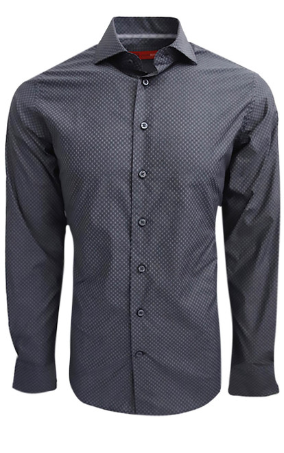 "Indulge yourself in this easy going upscale fashion shirt.  You can't help but love our very finest imported 100% Pima Cotton fabric.  It is soft, comfortable and completely washable. Georg Roth chose this Gray on Gray with a White dot pattern to enhance any pant or jean already in your wardrobe.  Adding that extra special touch, the cuffs are embellished with a light Gray companion pattern that looks great when the sleeves are rolled.  Small prints are so very ""in"" and you can be too wearing this very handsome number!"