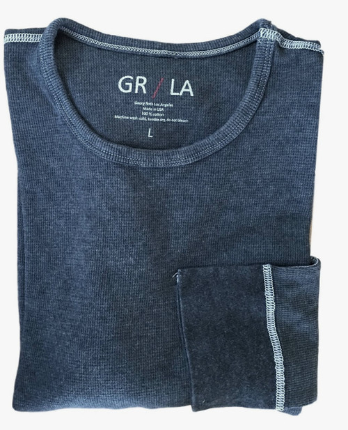 You will love our Vintage Garment dyed wardrobe staple in Indigo Blue. Carefree and casual to wear with your fave denims day or night. It's an effortless fashion statement. Super soft with contrast stitching details. You will never want to take it off!   Lightweight Thermal  Fitted (We recommend to up size)  Long Sleeves, Crew Neck  100% Cotton  Machine or hand wash cold lay flat to dry and go!!  100% Cotton
