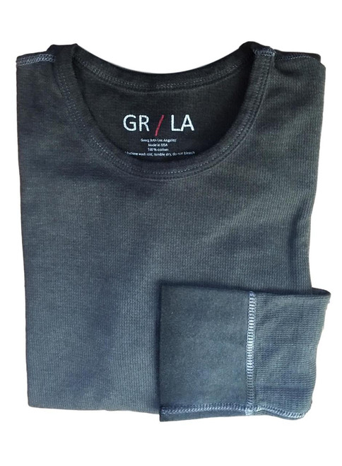 You will love our Vintage Garment dyed wardrobe staple in Charcoal Grey. Carefree and casual to wear with your fave denims day or night. It's an effortless fashion statement. Super soft with contrast stitching details. You will never want to take it off!   Lightweight Thermal  Fitted (We recommend to up size)  Long Sleeves, Crew Neck  100% Cotton  Machine or hand wash cold lay flat to dry and go!!  100% Cotton