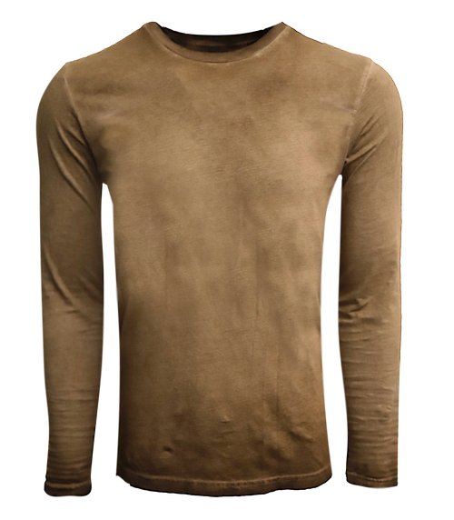 Men's Long Sleeves Crew Neck T-Shirt Color Coffee Brown / Dyed Washed Made in USA 100% Cotton