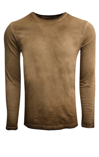 GRLA-CLS-8025 Coffee Brown-Long-Sleeves-Garment Dyed-T-Shirt