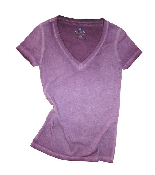 Beautiful shades of Plums Garment dye.   Deep V Neck with a longer length just below the hips  Form Fitted (For a more relaxed look, we recommend to size up)