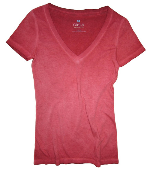 Beautiful shades of Red Garment dye.  Deep V Neck with a longer length just below the hips  Form Fitted  (For a more relaxed look, we recommend to size up)