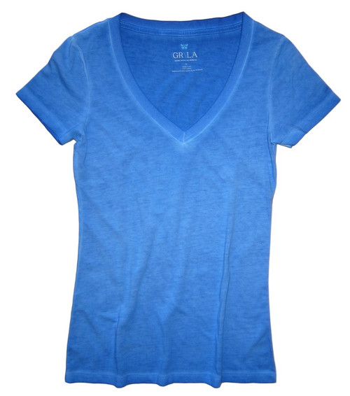 Beautiful shades of Blues Garment dye.  Deep V Neck with a longer length just below the hips  Form Fitted (For a more relaxed look, we recommend to size up)