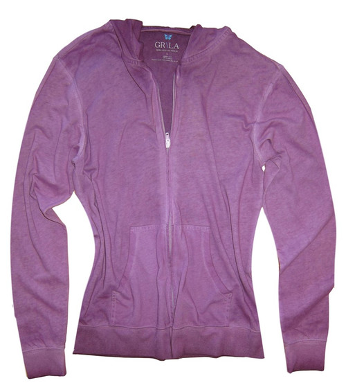 "Your ""Go To"" Hoodie in the trending new plum color garment wash. 100% Organic Cotton  Georg calls it ""Cozy Chic"" So soft and easy. Looks awesome with your white denims for spring- summer.  We love to pair it with any of our Tees and top it off with our beautiful scarf.  Slightly fitted at the waist.  Length hits below the hips"