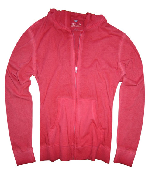 "Your ""Go To"" Hoodie in a gorgeous red garment wash.  100% Organic Cotton  Georg calls it ""Cozy Chic"" So soft and easy. Looks awesome with your white denims for spring- summer.  We love to pair it with any of our Tees and top it off with our beautiful scarf.  Slightly fitted at the waist.  Length hits below the hips"