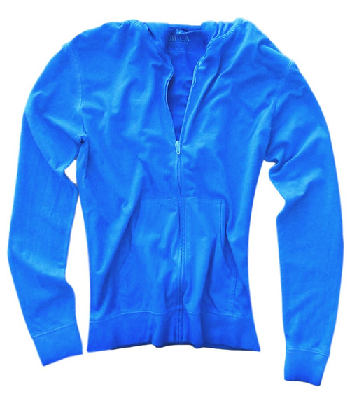 "Your ""Go To"" Hoodie in a brilliant royal blue garment wash. 100% Organic Cotton  Georg calls it ""Cozy Chic"" So soft and easy. Looks awesome with your white denims for spring- summer.  We love to pair it with any of our Tees and top it off with our beautiful scarf.  Slightly fitted at the waist.  Length hits below the hips"