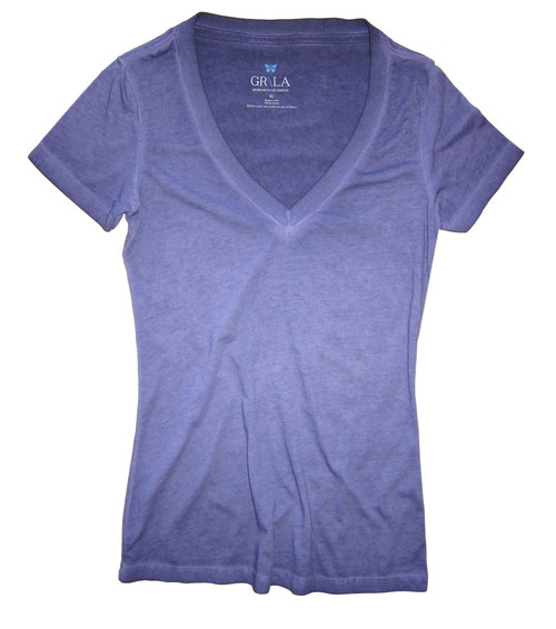 A  beautiful shade of Purple Garment dye.  Deep V Neck with a longer length just below the hips  Form Fitted  (For a more relaxed look, we recommend to size up)