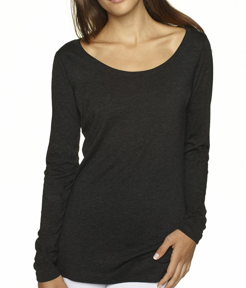 So soft and light with a beautiful easy texture.  100% Organic Cotton  Off black looks great with whites in the spring summer/  Long Sleeves with a deep scoop neck.  Slightly tapered at the waist