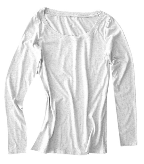 So soft and light with a beautiful easy texture. 100% Organic Cotton  Off White heather  Long Sleeves with a deep scoop neck.  Slightly tapered at the waist