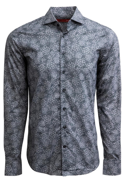 Super soft Pima in a rich charcoal and white floral print.  Cuffs and inner placket are trimmed with a mini black and white check making this a fantastic look with denim for dress with a jacket or on its own with the Georg Roth roll of the sleeves. 100% Pima Cotton