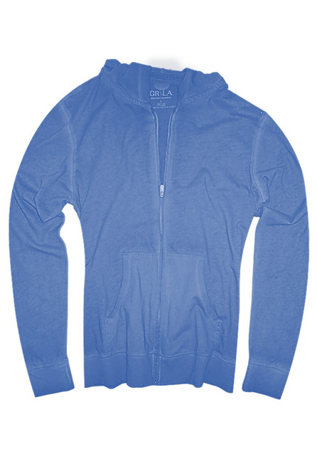 Your go to fashion full zip hoodie has arrived! A brilliant blue to pair with denim, khakis, whites and shorts.   So easy in a soft buttery cotton,that you will just love the comfort and feel. Pair it with any of our tees and enjoy the layered look of casual comfort.  100% Organic cotton  Hand or Machine wash cold and lay flat to dry (No bleach please)