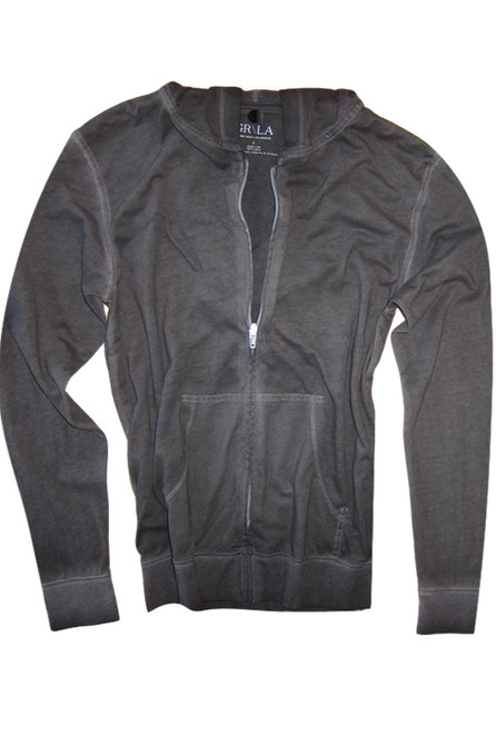 Your go to fashion full zip hoodie has arrived! A rich gray garment dyed to pair with black, denim, whites and shorts.   So easy in a soft buttery cotton,that you will just love the comfort and feel. Pair it with any of our tees and enjoy the layered look of casual comfort.  100% Organic cotton  Hand or Machine wash cold and lay flat to dry (No bleach please)
