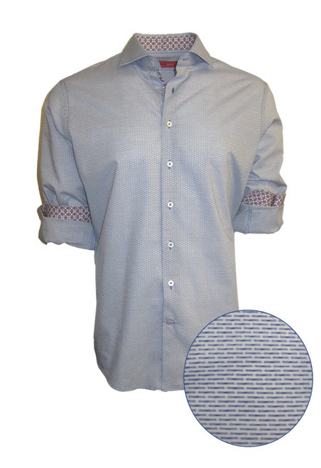 This blue tonal woven all over pattern is striking and sophisticated with a fun mix of pattern play inside the collar and cuffs.  A luxury timeless that you will enjoy daytime or going out! 100 %Cotton  Machine wash or dry clean