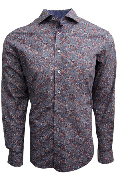 A rich and sophisticated floral on a super soft cotton. Stylish fun with jeans and khakis . Our amazing fit and style lets you wear this gem anywhere, anytime day into evening. 100% Cotton Machine wash or Dry Clean