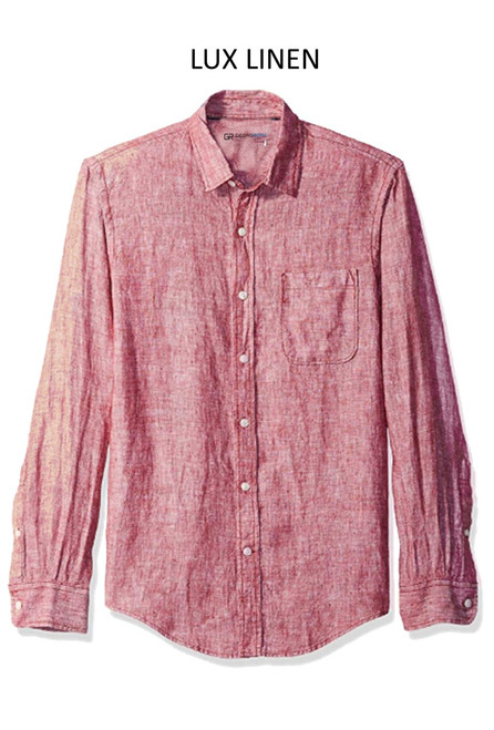 Perfect for warm weather our Long Sleeves Garment Dyed Linen Shirts in a beautiful brick red. Cool comfort with a relaxed fit, slightly tapered to be worn untucked or paired with a Georg Roth Tee and worn open. Machine or Hand Wash cold, lay flat to try.  . . . . . . .  #LinenShirts #GarmentDyed #LongSleeves #Shirt #Shirts