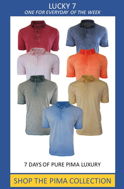 "Easy comfort anytime, anyplace! Our short sleeve"" Perfect Polo"" is truly a fashion statement. Vibrant colors of garment dyed wash make this Polo truly unique. This package includes 7 colors  The luxe pima is soft and easy, while the fit is just slightly tapered. For the Georg Roth Pima collector, this is a great value @ 765.00 as regularly the price for 7 is $875.00 100% Pima Cotton PRESHRUNK Machine wash, lay flat to dry or light dryer"