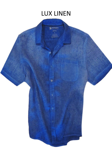 Perfect for warm weather our Short Sleeves Garment Dyed Linen Shirts in a vibrant shade of blue lagoon. Cool comfort with a relaxed fit, slightly tapered to be worn untucked or paired with a Georg Roth Tee and worn open. Machine or Hand Wash cold, lay flat to try.  90% Linen / 10% Cotton . . . . . .  #LinenShirts #GarmentDyed #ShortSleeves #Shirt #Shirts