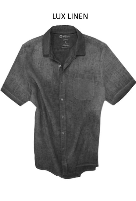Perfect for warm weather our Short Sleeves Garment Dyed Linen Shirts in a rich basalt grey. Cool comfort with a relaxed fit, slightly tapered to be worn untucked or paired with a Georg Roth Tee and worn open. Machine or Hand Wash cold, lay flat to try.  90% Linen / 10% Cotton . . . . . .  #LinenShirts #GarmentDyed #ShortSleeves #Shirt #Shirts