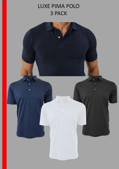 Get hooked to our basic luxury Pima, So super soft and feel good is our Luxe Pima Polo. 3 standard colors Navy, Black and White.  Hand or machine was cold, lay flat to dry and go! Slightly tapered. For a comfort fit we recommend sizing up. 100% PIMA COTTON