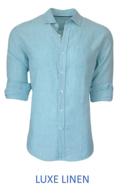 Perfect for warm weather our Long Sleeves Garment Dyed Linen Shirts in a sea breeze Aqua blue. Cool comfort with a relaxed fit, slightly tapered to be worn untucked or paired with a Georg Roth Tee and worn open. Machine or Hand Wash cold, lay flat to try.  . . . . . . .  #LinenShirts #GarmentDyed #LongSleeves #Shirt #Shirts