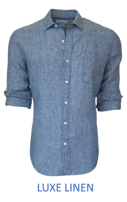 Perfect for warm weather our Long Sleeves Garment Dyed Linen Shirts in a beautiful classic denim blue. Cool comfort with a relaxed fit, slightly tapered to be worn untucked or paired with a Georg Roth Tee and worn open. Machine or Hand Wash cold, lay flat to try.  . . . . . . .  #LinenShirts #GarmentDyed #LongSleeves #Shirt #Shirts