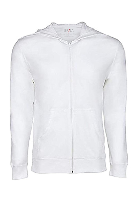 So soft and buttery, your go to fashion full zip hoodie has arrived! Clean, crisp white looks great with denims, khakis, whites and shorts.   Easy piece that you will just love the comfort and feel. Pair it with any of our tees and enjoy the layered look of casual comfort.  100% Organic cotton  Hand or Machine wash cold and lay flat to dry (No bleach please)