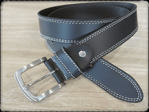 Black with a saddle stitch is very cool with denims.   What size belt should I get?  If you pant is size 32 you should get belt size 34 If you pant is size 34 you should get belt size 36 and so on...     100% Genuine Leather  Made in Germany