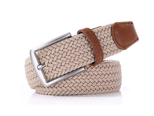 Sand beige stretch Belt for Jeans or sporty. (Golf)   What size belt should I get? If you pant is size 32 you should get belt size 34 If you pant is size 34 you should get belt size 36 and so on...