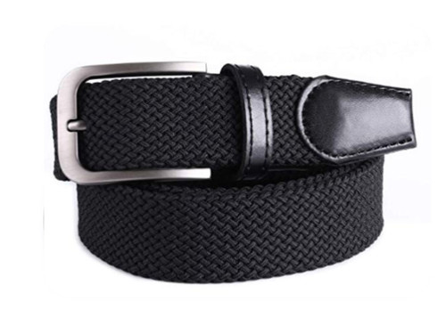 Black with (Chrome Buckle) stretch Belt for Jeans or sporty. (Golf)   What size belt should I get? If you pant is size 32 you should get belt size 34 If you pant is size 34 you should get belt size 36 and so on...