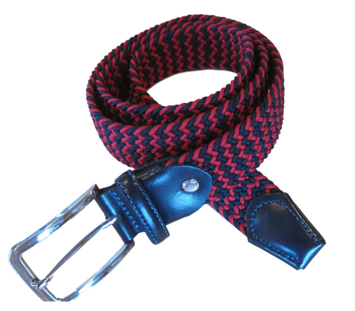 Marburg Sport 082000-01-3010 Red/Navy stretch Belt for Jeans or sporty. (Golf)   What size belt should I get? If you pant is size 32 you should get belt size 34 If you pant is size 34 you should get belt size 36 and so on... Made in Germany