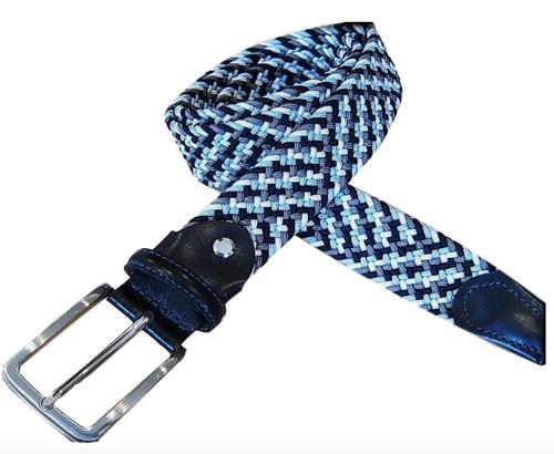 Marburg Sport 082000-02-9001 Black/Grey/LT Blue stretch Belt for Jeans or sporty. (Golf)   What size belt should I get? If you pant is size 32 you should get belt size 34 If you pant is size 34 you should get belt size 36 and so on... Made in Germany