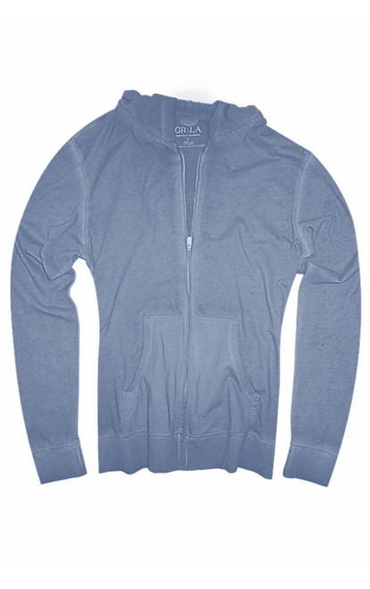 Your go to fashion full zip hoodie has arrived! A rich Capri Blue to pair with denim, khakis, whites, and black.  So easy in a soft buttery cotton,that you will just love the comfort and feel. Pair it with any of our tees and enjoy the layered look of casual comfort.  100% Organic cotton  Hand or Machine wash cold and lay flat to dry (No bleach please)