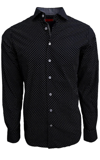Sophisticated Luxe fine 100% Pima Cotton woven shirt for dress or casual!     A mini black and white floral print that goes with so much and looks so rich and handsome.   The mini charcoal grey contrast in the collar stand and cuffs, when rolled, and down the front placket add that special complimentary touch that Georg Roth shirts are known for.      1 Breast pocket  Navy buttons  Machine wash cold hang to dry or dry clean
