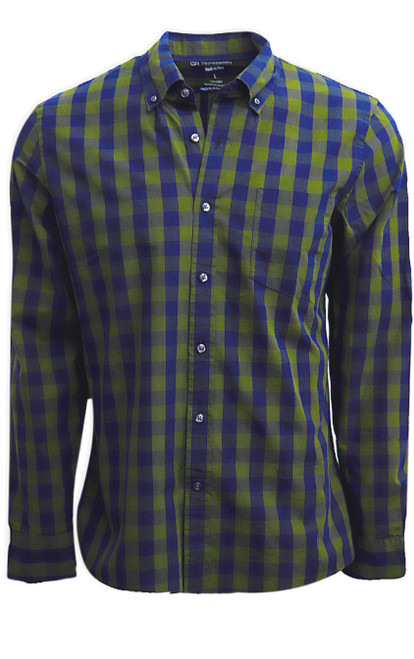 For the guy that likes clean classic, our Scranton shirt is an easy wardrobe staple.  Trim cut so you might want to size up if you do not want the fitted look.  A stunning shade of olive and navy on our large check looks great with denims.  We also love to see it worn open with a Tee under... easy & casual.     100% Cotton  1 Breast Pocket  Button Down Collar