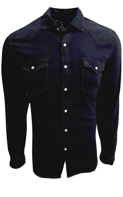 So hip and cool is our Boulder long sleeve denim snap shirt. The fabric is soft and so comfortable.Garment dyed in Black with a rich camel color saddle stitching. Looks great as an over shirt with a Georg Roth coffee Tee under it, as it pick up on the saddle stitching.    100% Cotton  2 Pockets  Snap closures  Machine wash cold , lay flat to dry or dry clean