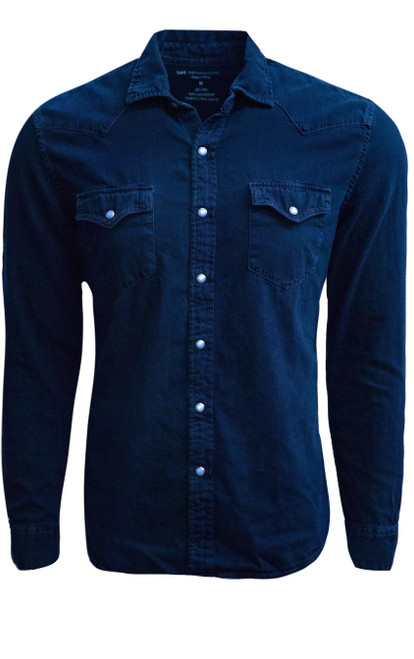 So hip and cool is our garment washed long sleeve denim snap shirt. The fabric is soft and so comfortable.Garment dyed in Indigo with a rich camel color saddle stitching. Looks great as an over shirt with a Georg Roth coffee Tee under it, as it pick up on the saddle stitching.     100% Cotton  2 Pockets  Snap closures  Machine wash cold , lay flat to dry or dry clean