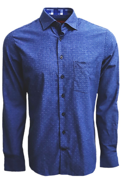 Super soft Pima Cotton in a rich denim blue with a mini tone on tone pattern. For business, casual or dress this shirt is so versatile, if rolling the sleeves or under a jacket, you will enjoy the many compliments! Detailed with a cool pattern in blues and grays inside the collar stand and cuffs along with a very small piping inside the front placket.   Soft Collar with hidden button down detail for the perfect shape  100% Cotton  1 Breast pocket  Machine wash cold hang to dry or dry clean