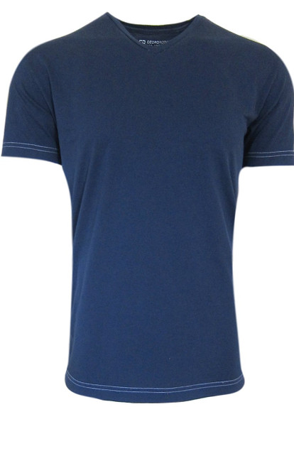 Luxury V-Neck Pima Cotton Mens Tshirt in stunning Indigo Blue garment washed (Softer than ever)  Georg Roth is proud to feature his love of t-shirts.  The World's Greatest T-Shirt Made of natural materials Our guarantee: 100% Supercombined Pima Cotton / Organic Wash UP TO 60 DEGREES Celcius  Zero percent shrinkage, dryer proof Maximum maturity of elasticity & shape Ecological dyes of supreme quality & free of chemicals