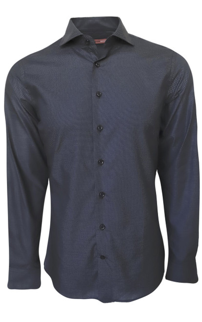 For your business wardrobe or elegant event our upscale fashion melange shirt is it. A very rich charcoal and black melange makes this a true companion with your blacks and greys. You can't help but love our very finest imported 100% Pima Cotton fabric.  It is soft, comfortable and completely washable.  Adding that extra special touch, the cuffs are embellished with a Black tonal pattern that looks great when the sleeves are rolled.    Machine wash cold, lay flat or hang dry. Presses like a dream  Dry clean okay