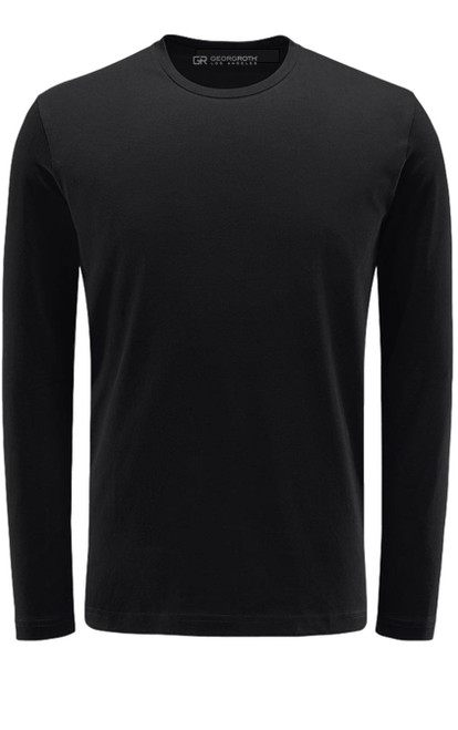 Luxury Long Sleeves Crew-Neck Pima Cotton Mens Tshirt in Black (Softer than ever)  Georg Roth is proud to feature his love of t-shirts.  The World's Greatest T-Shirt Made of natural materials Our guarantee: 100% Supercombined Pima Cotton / Organic Wash UP TO 60 DEGREES Celcius  Zero percent shrinkage, dryer proof Maximum maturity of elasticity & shape Ecological dyes of supreme quality & free of chemicals