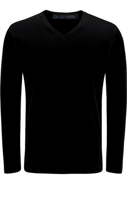 Luxury Long Sleeves V-Neck Pima Cotton Mens Tshirt in Black (Softer than ever)  Georg Roth is proud to feature his love of t-shirts.  The World's Greatest T-Shirt Made of natural materials Our guarantee: 100% Supercombined Pima Cotton / Organic Wash UP TO 60 DEGREES Celcius  Zero percent shrinkage, dryer proof Maximum maturity of elasticity & shape Ecological dyes of supreme quality & free of chemicals