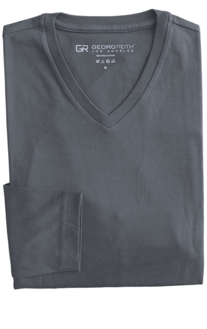 Luxury Long Sleeves V-Neck Pima Cotton Mens Tshirt in Gray (Softer than ever)  Georg Roth is proud to feature his love of t-shirts.  The World's Greatest T-Shirt Made of natural materials Our guarantee: 100% Supercombined Pima Cotton / Organic Wash UP TO 60 DEGREES Celcius  Zero percent shrinkage, dryer proof Maximum maturity of elasticity & shape Ecological dyes of supreme quality & free of chemicals